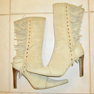 Beige Suede Leather Fringe Boots size 8 B